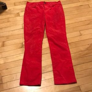 J Crew Bright Red Corduroy Straight Leg Pants